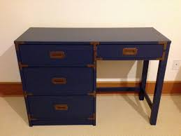 Sauder Sugar Creek Computer Armoire by Refinished Navy Blue Campaign Desk With Original Brass Hardware