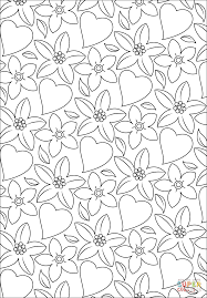 hearts and flowers pattern coloring page free printable coloring