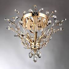 Crystal Ceiling Mount Light Fixture by Ava 6 Light Gold Indoor Crystal Flush Mount Rl8024 The Home Depot