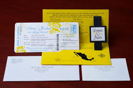 boarding pass invitations yellow boarding pass wedding invitations to dreams resort mexico