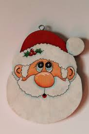 tole painted wood santa ornament by juliescraftshop on etsy