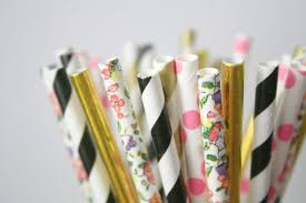 Gold And Pink Party Decorations Stripes Black Pink And Gold Paper Straws Valentines Day Decor