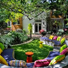 fantastic exterior house design ideas with colorful furniture of