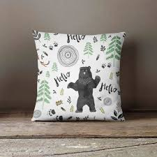 woodland pillow cover bear infant pillow woodland nursery