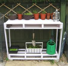 potting bench design collection features white wooden frames and