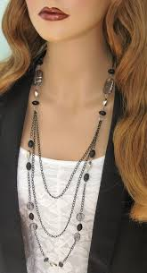 long bead chain necklace images Long black beaded necklace multistrand black chain necklace jpg
