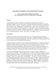 Property Spreadsheet Spreadsheet Calculations Of Thermodynamic Properties Pdf Download