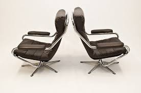Antique Leather Swivel Chair Danish Pair Of Chrome And Leather Swivel Chairs Vintage Retro