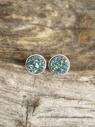 rhodium earrings sensitive ears tiny green druzy studs titanium drusy quartz sterling silver bezel