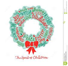 handwritten christmas wreath card word cloud design stock vector