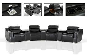 casa salem modern black eco leather recliner sectional sofa with