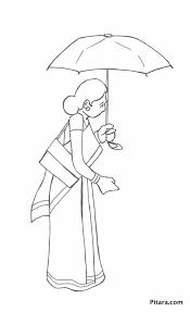 woman umbrella u2013 coloring pitara kids network