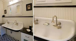 black and white bathrooms trough sinks country inspired