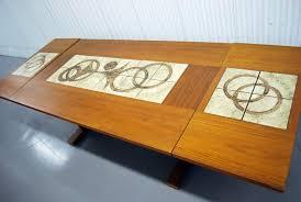 tile top dining room tables junk2funk mid century danish modern teak tile drop leaf dining