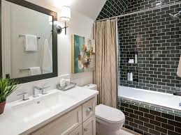black and white bathroom subway tile bathtub shower combination