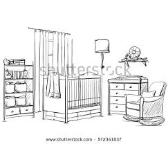 hand drawn children room furniture sketch stock vector 475065328