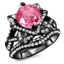 pink and black engagement rings noori 14k black gold 2ct certified pink sapphire and diamond