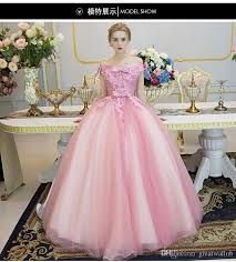 100 real bowknot shoulder pink fancy flower ball gown medieval