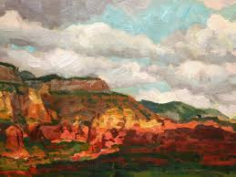 Impressionist Landscape Painting by Impressionist Landscape Painting Of Sedona Red Rock Mesas At