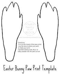 free printable easter bunny paw prints template back paws