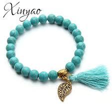 turquoise beads bracelet images 2017 boho natural stone turquoises beads bracelet gold color leaf jpg