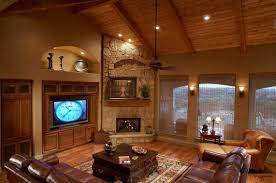 wall stone around corner fireplace design and unique ceiling fan ideas for retro family room with best large square rugs under dark square comfortable