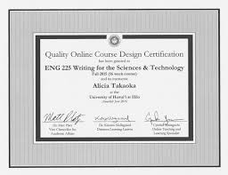 online design of certificate certified quality online courses