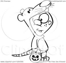 clipart of a black and white cartoon boy trick or treating in a