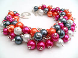 pearl beaded bracelet images Hot pink and orange pearl beaded bracelet wedding jewelry jpg