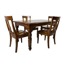 46 off wood dining table and beige upholstered chairs tables