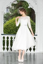 stylish a line half sleeves short tea length chiffon lace wedding
