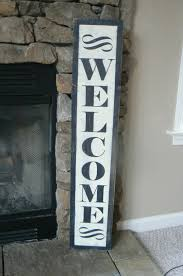 welcome sign black vertical distressed antique look by
