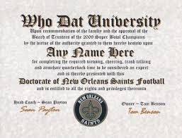 new orleans saints football fan certificate diploma gift