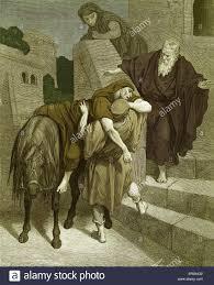 the good samaritan arrives at the inn engraving by gustave doré