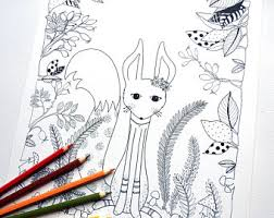 kawaii coloring book cute characters printable instant