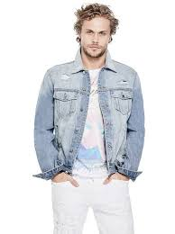 light blue denim jacket mens men s denim jackets guess