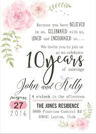 10 year anniversary ideas custom watercolor flower 10th year anniversary invitation soft pink