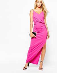 lipsy michelle keegan loves ruched front maxi dress with chain