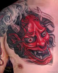 hannya mask samurai tattoo 63 classic mask tattoos on chest