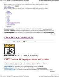 free acca f3 practice kit free accountancy resources video