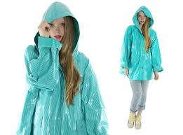 72 80s vinyl pvc raincoat slicker plus size xl aqua striped