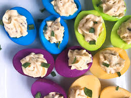 colored deviled eggs three olives branch