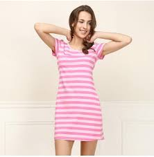 qianxiu casual nightgown comfortable striped night dress u0027s