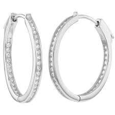 hoop earring 925 sterling silver channel set inside out cz women hoop earring