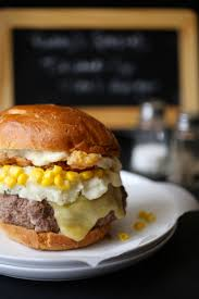 trashed up steak burger with chicken fried bacon u0026 dijon gravy