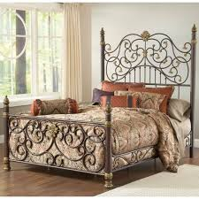 Vintage King Bed Frame Wrought Iron Bed Frame King With Vintage Damask Fabric For Diy