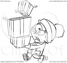 cartoon clipart of a black and white nervous boy carrying a shaky