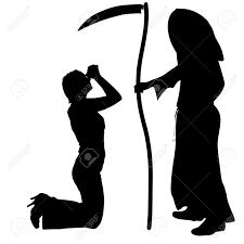 Grim Reaper Halloween Costume Vector Silhouette Woman Grim Reaper White