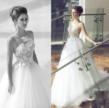 princess nurit hen wedding dresses one shoulder sequins sheer