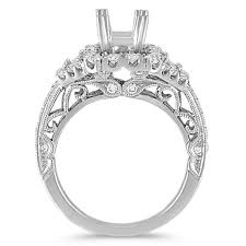 vintage halo engagement rings pav eacute set trapezoid and vintage halo